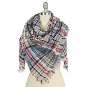 """Plaid Square Blanket Scarf Featuring Frayed Trim.  - Approximately 52"""" W x 53"""" L  - 100% Polyester"""