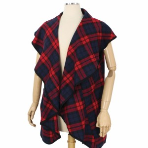 """Plaid Ruffle Vest Featuring Pockets.  - One size fits most 0-14 - Approximately 33"""" L  - 100% Polyester"""