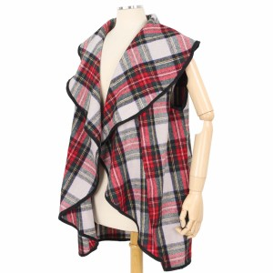 """Tartan Plaid Ruffle Vest Featuring Pockets.  - One size fits most 0-14 - Approximately 33"""" L  - 100% Polyester"""