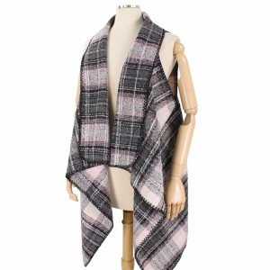 """Fall/Winter Plaid Vest.  - One size fits most 0-14 - Approximately 30"""" (Back); 33"""" (Front) - 100% Polyester"""