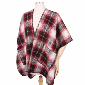 Plaid Cape/Vest with Pockets.  - One size fits most 0-14 - 100% Polyester