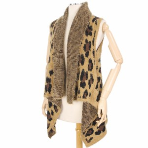 Furry Leopard Print Knit Vest.  - One size fits most  - 50% Polyester / 50% Acrylic