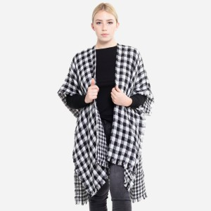 """Reversible Buffalo Check Houndstooth Winter Kimono with Frayed Trim.  - One size fits most 0-14 - Approximately 37"""" L - 100% Acrylic"""