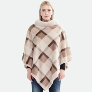 """Women's Faux Fur Plaid Woven Print Poncho Featuring Cowl Neck.  - One size fits most 0-14 - Approximately 35"""" L - 100% Polyester"""