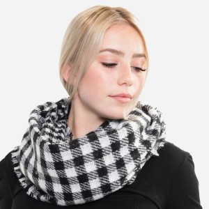 """Buffalo Check Infinity Scarf.  - One size fits most  - Approximately 19"""" W x 33"""" L - 100% Polyester"""