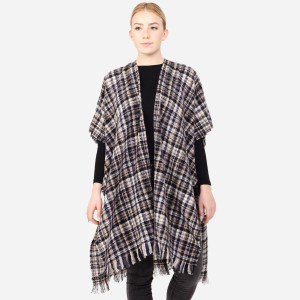 """Women's Soft Small Plaid Print Kimono with Frayed Trim.  - One size fits most 0-14 - Approximately 37"""" L - 100% Acrylic"""