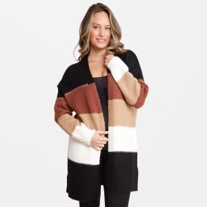 "Women's Corlorblock Knit Cardigan.  - One size fits most 0-14 - Approximately 37"" L - 50% Acrylic / 25% Polyester / 20% Nylon / 5% Elastane"