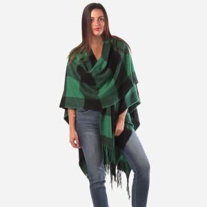 "Women's Buffalo Check Knit Ruana/Wrap Featuring Fringe Tassel Trim.  - One size fits most 0-14 - Approximately 36"" Long - 100% Acrylic"