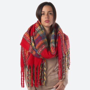 """Women's Fuzzy Plaid Print Oblong Scarf Featuring Tassel Trim.  - Approximately 21"""" W x 80"""" L - Fringe; 8"""" Long - 100% Polyester"""