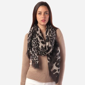 """Women's Lightweight Black Leopard Print Scarf.  - Approximately 35"""" W x 70"""" L - 100% Polyester"""