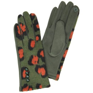 Furry Knit Leopard Print Smart Touch Gloves.  - Touchscreen Compatible - One size fits most - 80% Polyester, 20% Wool
