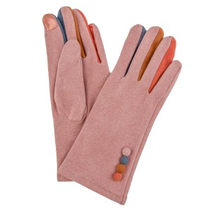 Suede Like Smart Touch Gloves Featuring Color Finger & Button Details.  - Touchscreen Compatible - One size fits most - 100% Polyester