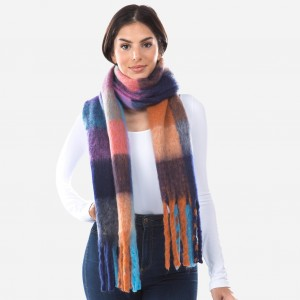 "Super Soft Furry Knit Plaid Oblong Scarf Featuring Tassels.  - Approximately 14""W x70""L + Tassel: 7"" - 100% Polyester"