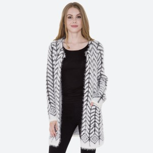 """Women's Arrow Aztec Print Fuzzy Knit Cardigan Featuring Pockets.  - Hook & Eye Closure - 2 Front Pockets - One size fits most 0-14 - Approximately 35"""" L - 100% Polyester"""