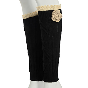 "13"" Black tone crochet boot toppers with a beige crochet flower featuring an ivory lace rimmed top."