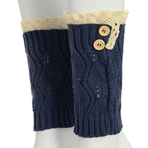 "8"" Dark Blue tone crochet boot toppers accented wooden buttons on the side featuring an ivory lace rimmed top."