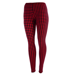 Peach skin material leggings featuring red and black houndstooth print. Polyester and spandex blend. One size fits most.