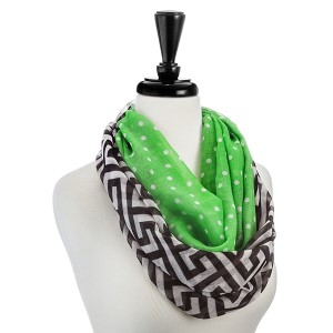 Lightweight Greek Key and lime green infinity scarf. 100% Polyester.