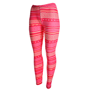 Hot pink peach skin leggings with pink and pale yellow Greek Key pattern. Polyester and spandex blend. One size fits most.
