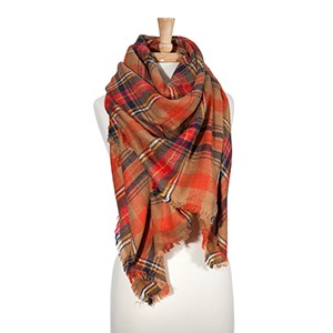 """Brown, navy, and orange tartan plaid blanket scarf. 100% Acrylic. Approximately 55 1/2"""" x 56""""."""