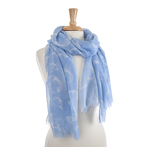 "Lightweight blue and white whale scarf. 100% Polyester. Approximately 36"" x 72""."
