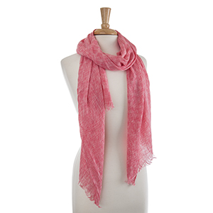 "Lightweight coral crinkled oblong scarf. 100% Viscose. Approximately 29 1/2"" x 72""."