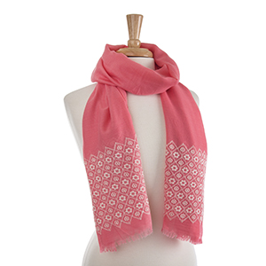 "Lightweight coral flower embroidery oblong scarf. 30% Cotton and 70% viscose. Approximately 27 1/2"" x 72""."