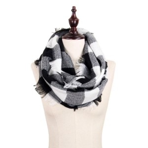 """Buffalo Check Woven Infinity Scarf with Frayed Trim.  - Approximately 19"""" W x 33.5"""" L - 100% Acrylic"""