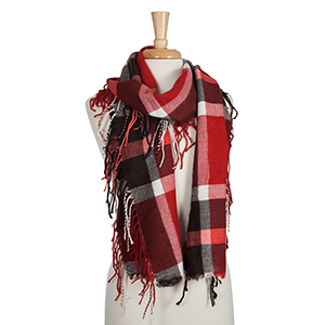 Brown, white, and red plaid scarf with fringe. 100% acrylic.