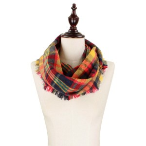 Navy, gray and red plaid infinity scarf. 100% acrylic.