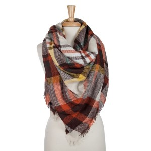 Brown, ivory and orange plaid blanket scarf. 100% acrylic.