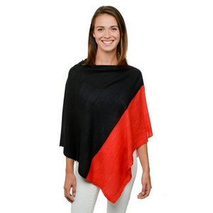 Black and red poncho, perfect for game day. 100% acrylic. One size fits most.