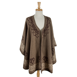 Taupe cape with a brown pattern. 100% acrylic. One size fits most.
