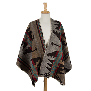 Black, gray and tan cape with an Aztec print. 100% acrylic. One size fits most.