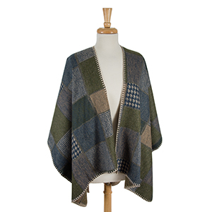 Olive green and tan printed cape wth beige stitching. 100% acrylic. One size fits most.