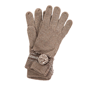 Beige knit gloves with a pom pom accent. 65% acrylic and 35% wool. One size.