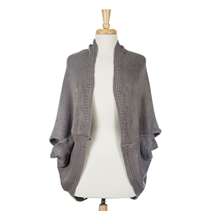 Solid gray cocoon kimono top. 100% acrylic. One size fits most.