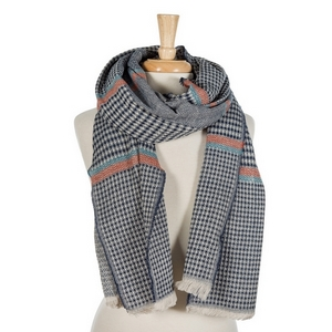 """Oversized, heavyweight, navy blue and ivory plaid scarf. 100% acrylic. Measures 72"""" x 28"""" in size."""
