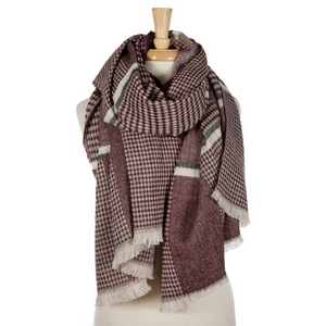 """Oversized, heavyweight, burgundy and ivory plaid scarf. 100% acrylic. Measures 72"""" x 28"""" in size."""