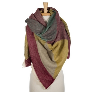 """Burgundy, mustard, and taupe printed blanket scarf with frayed edges. 100% acrylic. Measures 56"""" x 56"""" in size."""