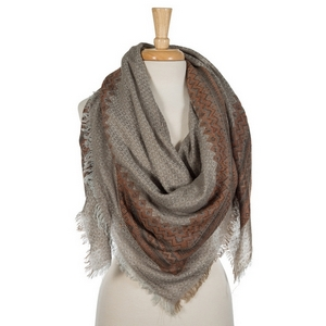 """Taupe and gray lightweight blanket scarf. 55% viscose and 45% acrylic. Measures 56"""" x 56"""" in size."""