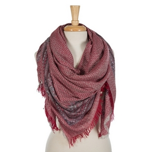 """Burgundy and gray lightweight blanket scarf. 55% viscose and 45% acrylic. Measures 56"""" x 56"""" in size."""