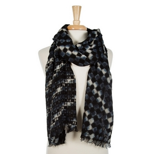 """Shades of black and gray printed open scarf with frayed edges. 55% viscose and 45% acrylic. Measures 80"""" x 22"""" in size."""