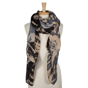 """Black and gray blue tie-dye printed open scarf. 100% viscose. Measures 36"""" x 72"""" in size."""