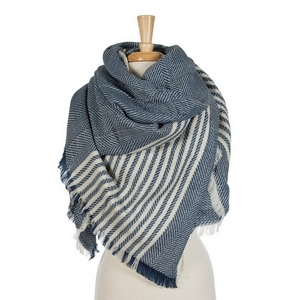 """Navy blue and white striped blanket scarf. 100% acrylic. Measures 56"""" x 56"""" in size."""