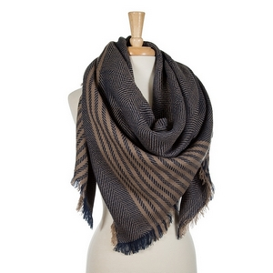 """Navy blue and beige striped blanket scarf. 100% acrylic. Measures 56"""" x 56"""" in size."""