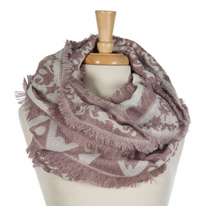 """Mauve and ivory printed infinity scarf with frayed edges. 100% acrylic. Measures 36"""" x 18"""" in size."""