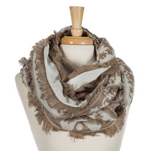 """Brown and ivory printed infinity scarf with frayed edges. 100% acrylic. Measures 36"""" x 18"""" in size."""
