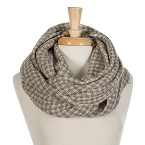 """Gray and mauve houndstooth infinity scarf. 100% acrylic. Measures 36"""" x 21"""" in size."""