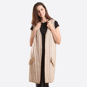 Mustard and white striped vest with faux pockets. 70% acrylic and 30% wool. One size fits most.